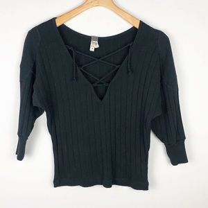 We the Free Ribbed Criss Cross Tie Pullover Top XS